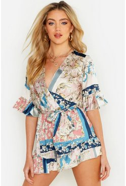 Womens Rose Ruffle Detail Satin Chain Print Playsuit