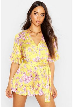 Womens Yellow Ruffle Detail Floral Print Playsuit