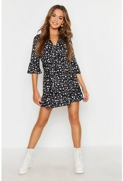 Womens Black Ditsy Floral Knot Front Dress