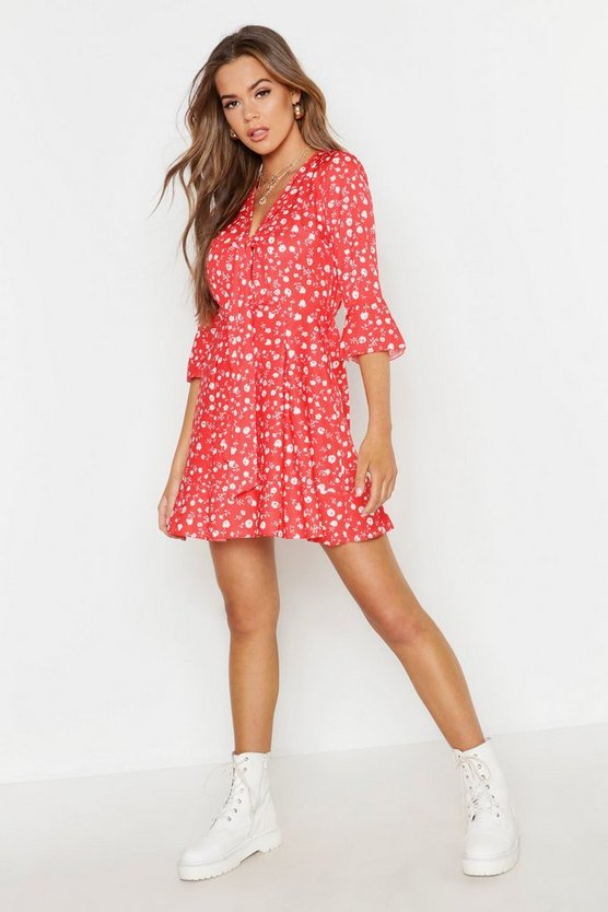 Womens Red Ditsy Floral Knot Front Dress