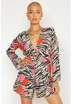 Womens Stone Animal Floral Knot Front Playsuit