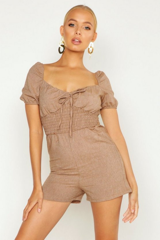 Womens Biscuit Shirred Waist Linen Look Playsuit