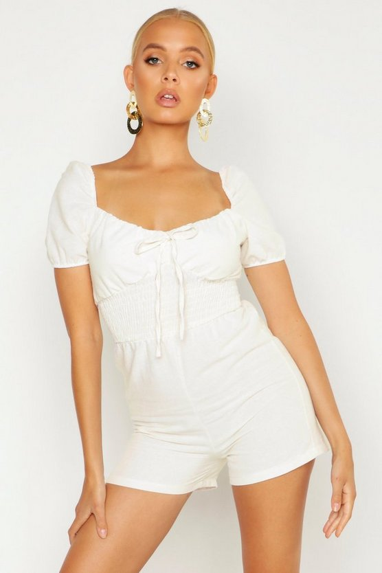 Womens Ecru Shirred Waist Linen Look Playsuit