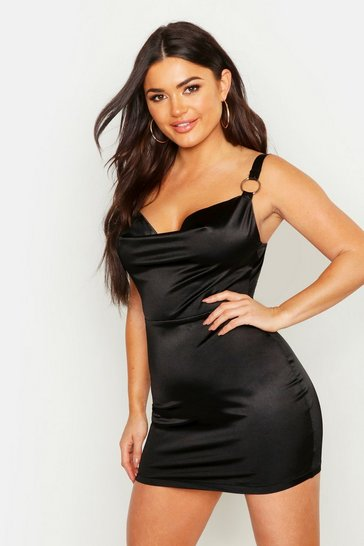 Womens Black Cowl Front Ring Detail Stretch Satin Mini Dress