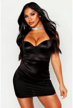 Womens Black Strappy Stretch Satin Cupped Bodycon Mini Dress