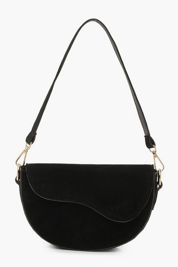 Womens Black Suedette Multiway Shoulder Bag
