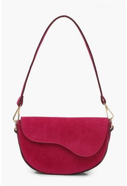 Womens Fuchsia Suedette Multiway Shoulder Bag