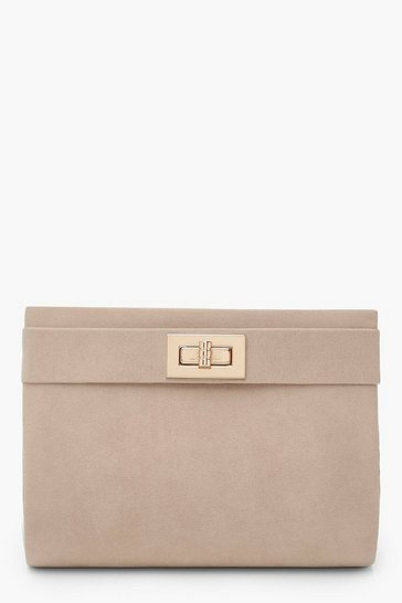 Womens Beige Sudette Mini Lock Clutch Bag