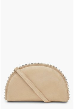 Womens Cream Half Moon Beaded Clutch Bag With Strap