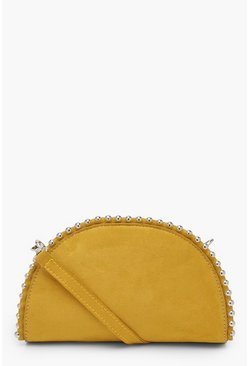 Womens Mustard Half Moon Beaded Clutch Bag With Strap