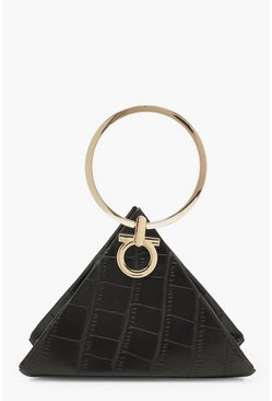 Black Croc Triangle Ring Handle Clutch Bag