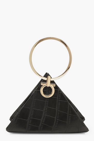 Womens Black Croc Triangle Ring Handle Clutch Bag
