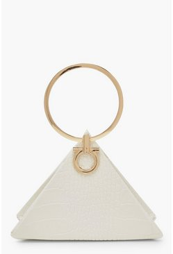 Womens White Croc Triangle Ring Handle Clutch Bag