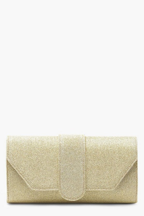 Gold Shimmer Front Tab Clutch Bag