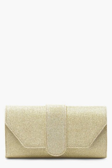 Womens Gold Shimmer Front Tab Clutch Bag