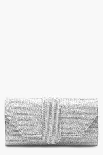 Womens Silver Shimmer Front Tab Clutch Bag