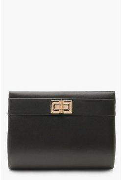 Womens Black PU Mini Lock Clutch Bag
