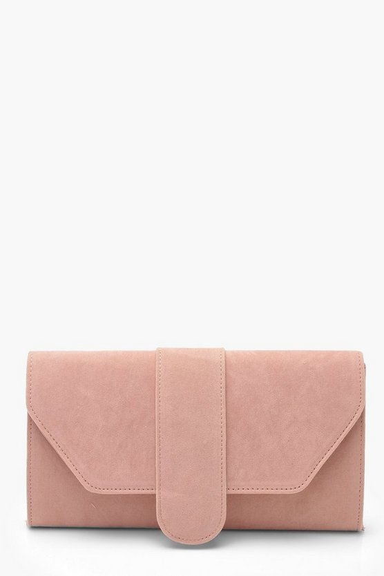 Womens Blush Suedette Front Tab Clutch Bag