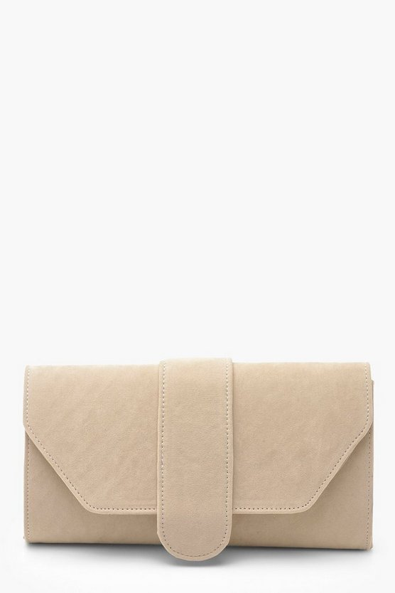 Womens Cream Suedette Front Tab Clutch Bag