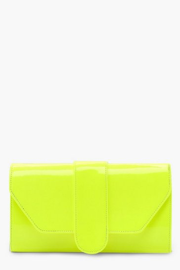 Womens Neon-lime Neon Front Tab Clutch Bag