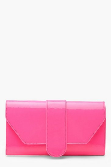 Womens Neon-pink Neon Front Tab Clutch Bag