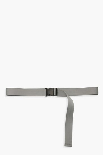 Womens Grey Plastic Buckle Sports Tape Belt
