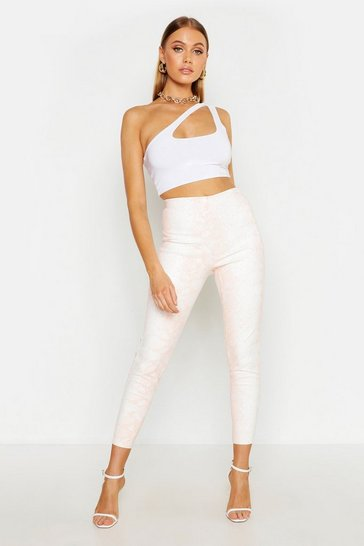 Womens White Snake Print Peach Tonal Leather Look Leggings