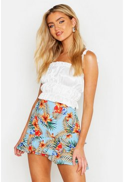 Womens Blue Tropical Print Ruffle Hem Mini Skirt