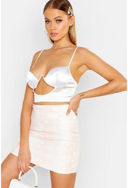 Womens White Snake Print Peach Tonal Leather Look Mini Skirt