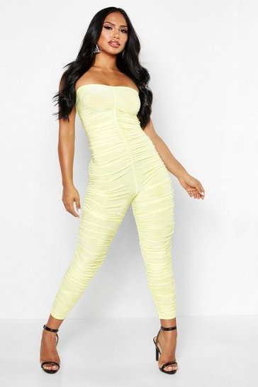 Womens Yellow Rouche Strapless Jumpsuit