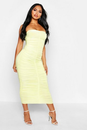 Yellow Rouche Bodycon Midi Dress