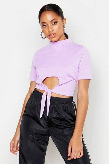 Womens Lilac Funnel Neck Cut Out Tie Crop Top
