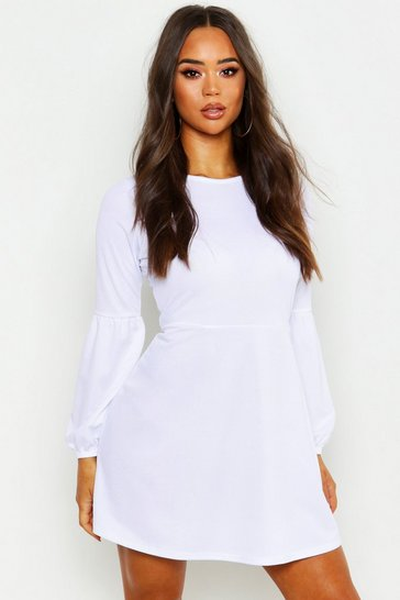 Womens Ivory Volume Sleeve Shift Dress
