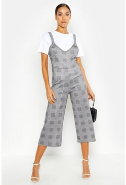 Womens Black Dogtooth Buckle Detail Pinafore Jumpsuit