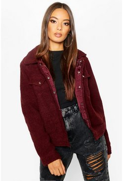 Womens Burgundy Teddy Faux Fur Trucker Jacket