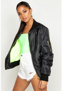 Womens Black Neon Green Lined MA1 Bomber Jacket