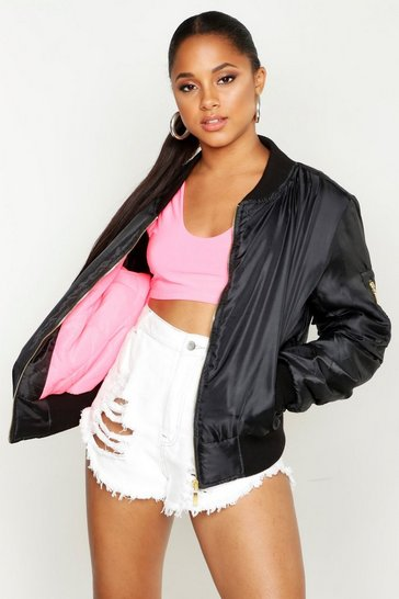 Womens Black Neon Pink Lined MA1 Bomber Jacket