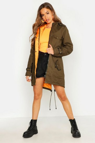Womens Khaki Hooded Faux Fur Trim Parka