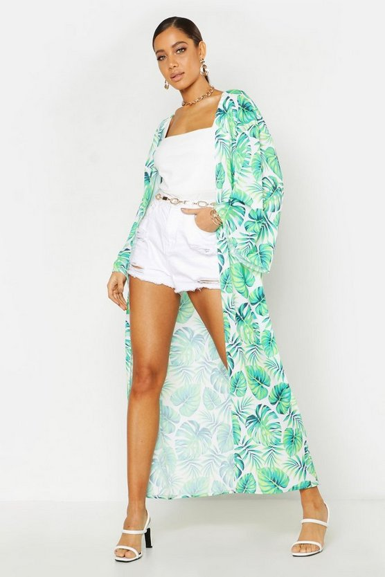 Womens White Tropical Palm Print Maxi Kimono
