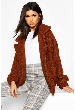 Womens Camel Oversized Teddy Faux Fur Bomber