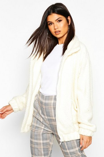 Cream Oversized Teddy Faux Fur Bomber