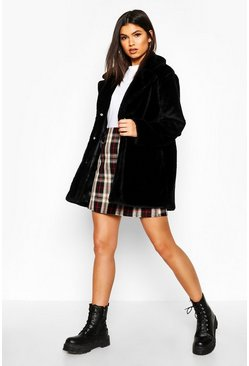 Womens Black Pocket Detail Faux Fur Coat