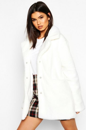 Womens Ivory Pocket Detail Faux Fur Coat