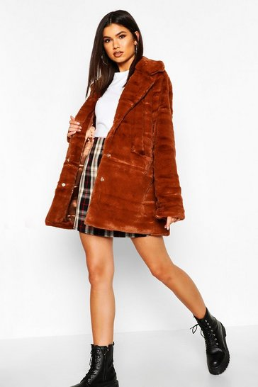 Womens Rust Pocket Detail Faux Fur Coat