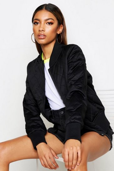Womens Black Quilt Detail Bomber Jacket