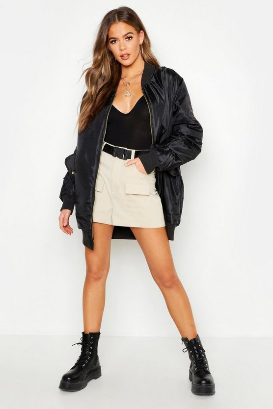 Womens Black Longline Oversized Bomber Jacket