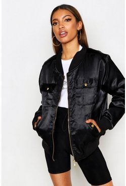 Womens Black Satin Double Pocket Bomber Jacket