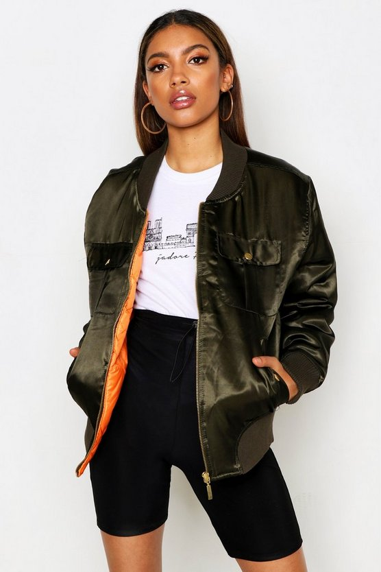 Womens Khaki Satin Double Pocket Bomber Jacket