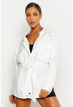 White Belted Linen Look Jacket