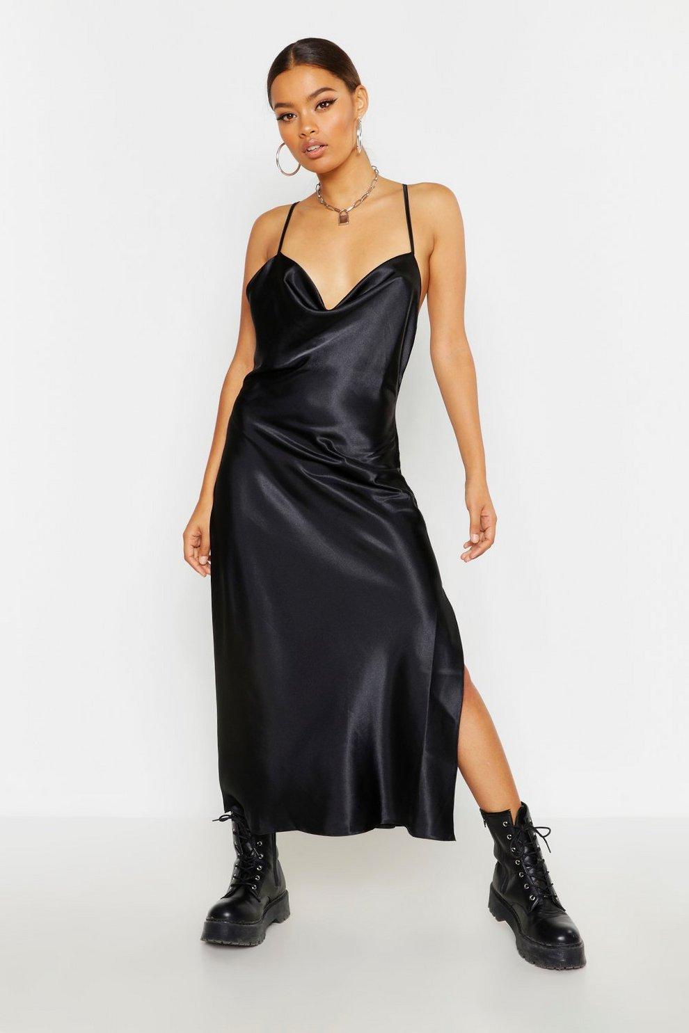 cb39f01d98a Womens Black Satin Bias Cut Slip Midi Dress